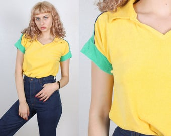 70s Terrycloth Shirt // Vintage Polo Short Sleeve Top Womens - Medium