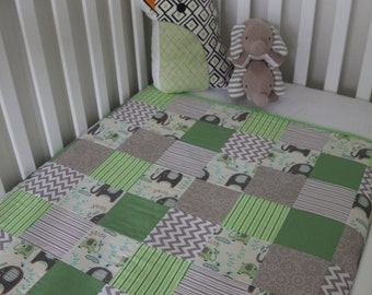 Big Splash! Green, Grey and White Patchwork Cot Quilt / Play Mat