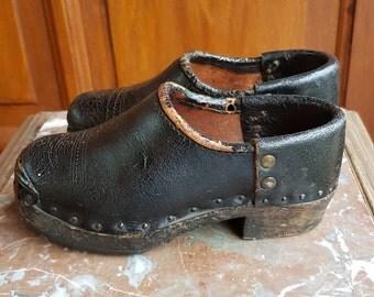 Vintage clog shoes for children, France