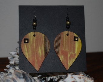Large Ceramic Dangle Earrings w/ gold luster