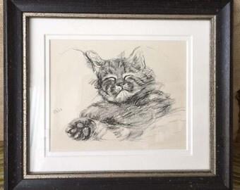 Framed Vintage Lucy Dawson Print of a Sleeping Cat