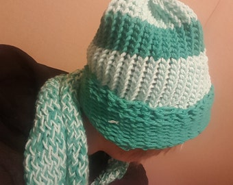 Turquoise and sea green winter handmade hat