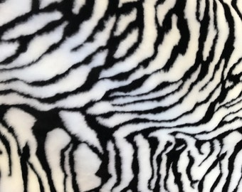 """White Bengal Tiger Faux Fur Fabric By The Yard 60"""" Width"""