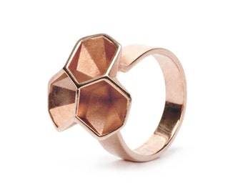 Calyx ring No. 2, 3D printed brass - rose gold plated