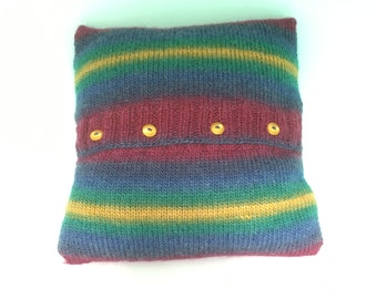 Hand-Knitted Cushion, Cosy Cushions, Multicoloured Cushions, Home Decor, Homewares, Gifts