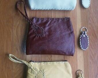 Leather wristlet + key chain