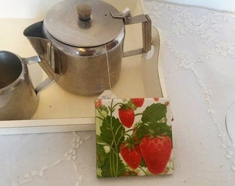 Unique Handmade Strawberry Design Ceramic Coaster