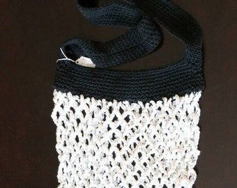 Cotton crochet Market or Beach bag, black and white