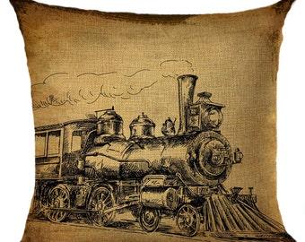 Old Fashion Train Pillow Cushion Throw Pillow Cover
