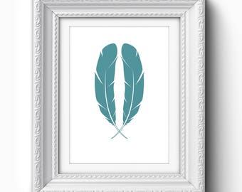 Teal Feathers Print, Teal Feather Art, Feather Printable, Feather Wall Art, Teal Feather Art, Teal, White, Feather Home Decor, Wall Art