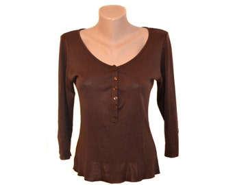 Vintage ANNE FONTAINE Paris Lemon women brown top blouse Made in France sz L 100% cotton