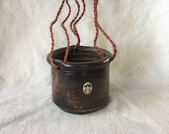 Vintage Hanging flower pot, hanging planter. Van Dijk ceramics
