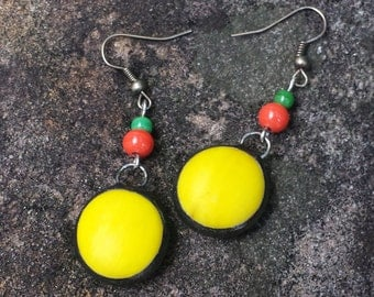 Bright Yellow Glass Soldered Beaded Earrings by Indigo Mood