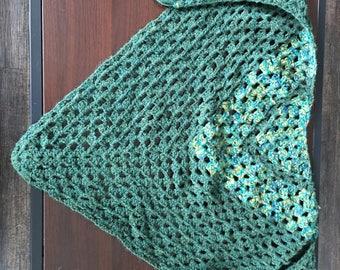 Green Granny Square Triangle Scarf