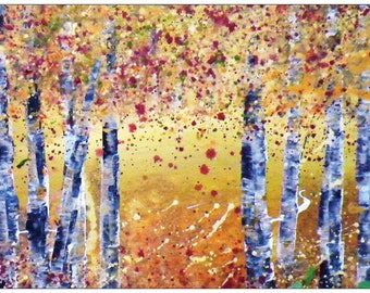 Woodland Autumn Trees Card, Trees, Original Art, Acrylic Art, Seasons, Blank Card, Forrest,