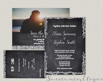 Chalk Lace wedding invitation