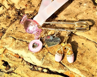 Newborn/ Baby Girl/ New Mom/ Safety Pin/ Gift/ Baptism/ Baby Shower/ Ballet Shoes/ Evil Eye/ Charms/ Heart/ Candy Bead/ Footsteps Ribbon