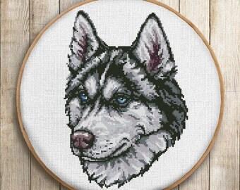 "cross stitch pattern dog husky. Instant Download PDF-""Husky dog"" Embroidery Pattern-Animal cross stitch-Wall decor-wall Art-buy 2 get 1 free"