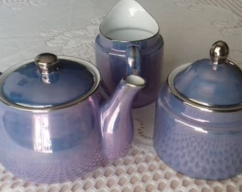 teapot set purple pearlescent By 'China Blue' Totnes England
