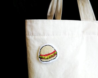 Burger patch, embroidered patch, handmade patch, textile brooch