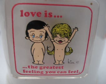 LOVE IS the greatest feeling you can feel Kim Casali lucite Denmark keychain