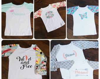 Girls Ruffle Raglan Shirts Designed