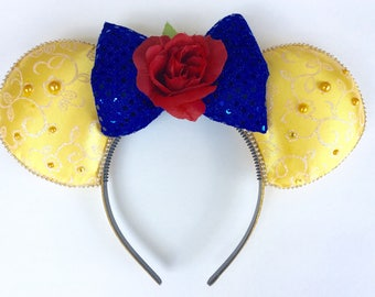 Beauty and the Beast inspired Minnie Ears, princess Mickey Ears, Disney Ears, princess ears