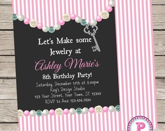PRINTED Chalkboard Jewelry Making Party Invitation Front Back Pink Stripes Birthday Gems Beads Pearls