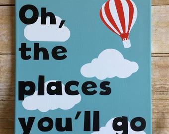 Oh the places you'll go, boys nursery decor, transportation wall art, baby gift for boy, hot air balloon wall art, kids toom decor