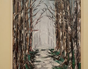Walking through the forest in textural oils.