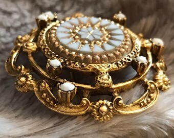 Vintage Brooch Gold Scalloped Milk Glass Flower Star Burst