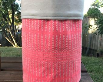 Mexican poncho fabric storage basket