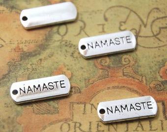 20pcs Namaste charms silver tone Namaste Charm Pendant 21x8mm ASD0938