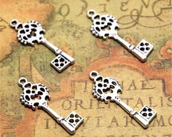 25pcs vintage key Charms silver tone filigree key Charm Pendants 28x10mm ASD2327