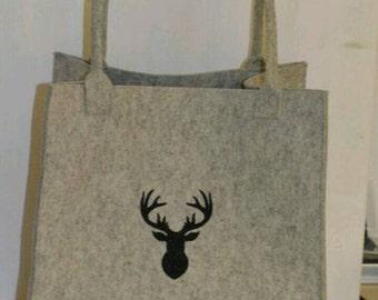 Shopper / felt bag with deer