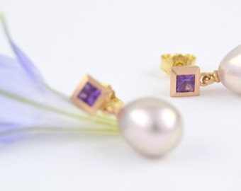 UNIQUE earrings 18 kt pink gold, sapphires, purple, pearl drops Lavender