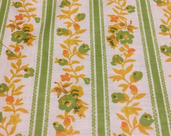 "Vintage Waverly ""Primrose Path"" bright and cheerful stripe floral in green and yellow"