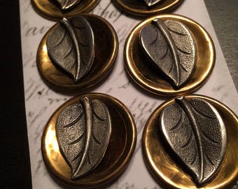 Vintage Two Tone Metal Leaf Buttons (5)