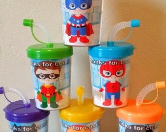 SuperHero Party Favor Cups Set of 6 Personalized Spiderman, Captain America, Batman, Superman, Iron Man, Robin