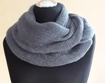 knitted scarf, knit scarf, knitting women shawl, handmade accessories, wrap, shrug, gray