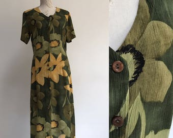 1980s Vintage Dress Floral Summer Green Beige Flower Dress Romantic Dressing Smock-style dress Button up Sleveless Church Dress Size Large
