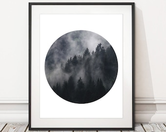 Forest Photography Circle Print Digital Download | Mountain Forest Mist Print Printable | INSTANT DOWNLOAD | Forest Photography Wall Art