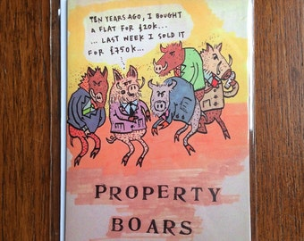 Greetings card: Property Boars