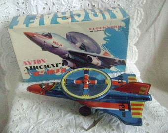 Vintage Avion Aircraft Clockwork Wind Up Tin Toy MS 134, Working Condition, Made in China 1980's with Original Box