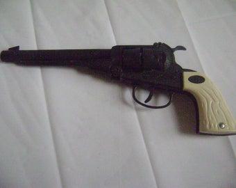 Vintage Cap Gun, Leslie Henry Long Barrel Cap Gun Pistol, RARE Black Die Cast, White Grips, Revolving Cylinder, Western, Cowboy, Toy