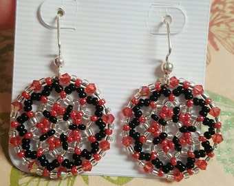 Beautiful Handmade Pink and Black Beaded Earrings. Great for everyday use, holiday jewelry or any special occasion!!