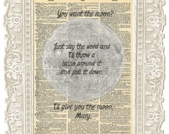 Its a Wonderful life moon poster artwork. Inspirational Movie quotes prints vintage page. Perfect as a movie lover gift