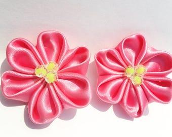 Pink Flower Hair Clip , Kanzashi Flower (1 Pair)