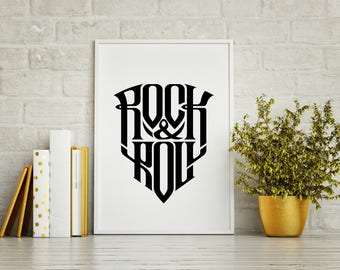 ROCK N ROLL! Wall Art Home Decor- Rock and Roll Art, Rock and Roll Artwork, Rock N Roll Artwork