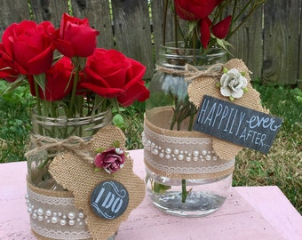Rose and Pearl Mason Jar